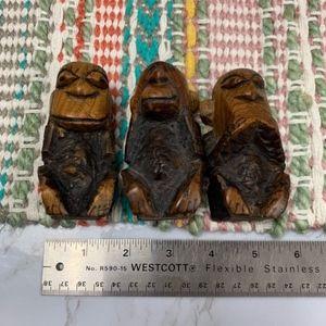 Vintage Accents - Set Hear See Speak No Evil Africa hand-craved wood